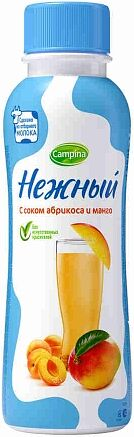 Drinking yoghurt with apricot and mango juice