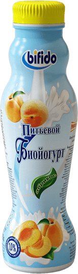 Drinking bioyoghurt with apricot