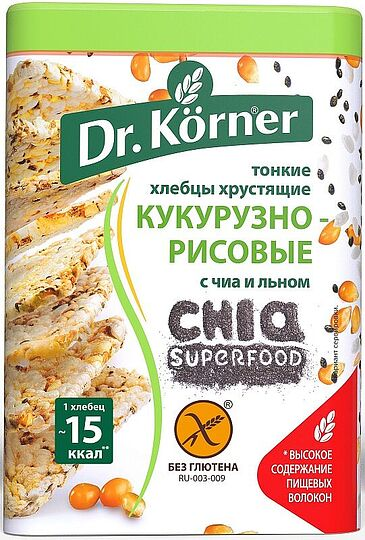 Crispbreads corn-rice with chia and flax